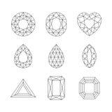 Diamanti e Ruby Vector Line Icons Fotografia Stock
