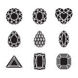 Diamanti e Ruby Vector Line Icons della siluetta Immagini Stock