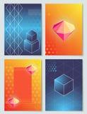 Diamanti ed illustrazione di vettore della raccolta dei cubi Fotografie Stock Libere da Diritti