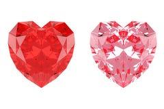 Diamanti a forma di del cuore rosso e rosa fotografia stock libera da diritti