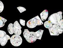 Diamanti o pietre preziose isolati sul nero Fotografia Stock