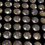 Diamanti Priorità bassa nera dei monili del tessuto dell'argento e dell'oro Fotografia Stock Libera da Diritti