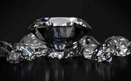 Diamanti su fondo grigio scuro Immagini Stock