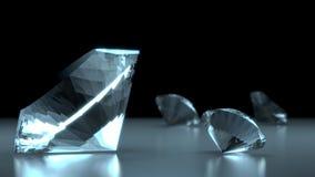 Diamanti su priorità bassa nera e blu Immagine Stock