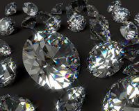 Diamanti su una priorità bassa nera Fotografie Stock