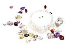 Diamanti verdi con le gemme Fotografie Stock