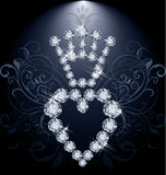 Diamantkrona och hjärta Arkivfoto