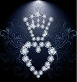 Diamantkrone und -herz Stockfoto