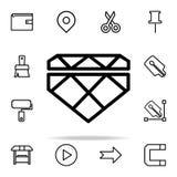 Diamantpictogram voor Web wordt geplaatst dat en het mobiele algemene begrip van Webpictogrammen royalty-vrije illustratie