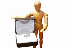 Diamantring en doos Royalty-vrije Stock Foto's
