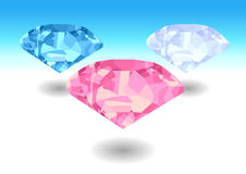 Diamants blancs, bleus et roses illustration stock