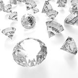 Diamants 3d en composition comme concept Photographie stock