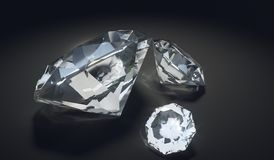 Diamants de luxe sur le fond noir 3D a rendu l'illustration Photos stock