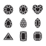 Diamants et Ruby Vector Line Icons de silhouette Images stock