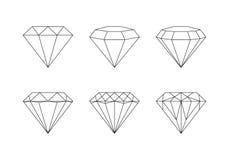 Diamants, pierres gemmes facettant des modèles de vecteur sur un backgrou blanc Image libre de droits