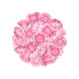 Diamants roses d'aquarelle Photo libre de droits