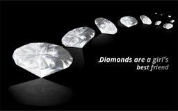 Diamants sur le fond reflété par couleur noire illustration libre de droits