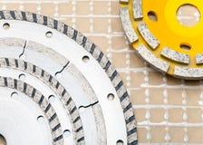 Diamantscheiben für ein konkretes abrasion.constructions-Stillleben Stockbilder
