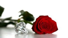 Diamantsnurr bredvid röd ros på vit bakgrund arkivfilmer