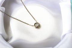Diamantsteinhalskette der Schmucksachen weißes Gold der einzelnen Lizenzfreie Stockfotografie