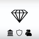 Diamantsymbol, vektorillustration Sänka designstil Arkivfoton