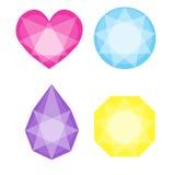 Diamantsymbolsuppsättning i olika färger Fotografering för Bildbyråer