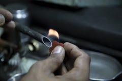 Diamanttillverkning i fabrik Arkivfoton