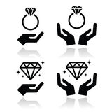 Diamantverlovingsring met handenpictogram Royalty-vrije Stock Afbeelding