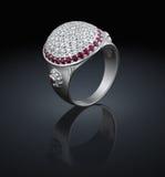 diamentów pierścionku srebro Zdjęcie Royalty Free