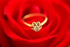 diament na czerwone rose pierścionek Obraz Stock