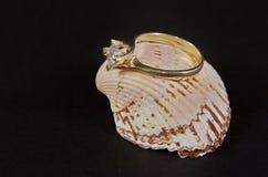 Diamentowa obrączka ślubna na seashell Zdjęcie Royalty Free