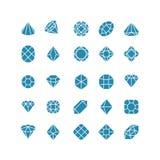 Diamentowe abstrakcjonistyczne ikony Drodzy biżuteria wektoru symbole Zdjęcia Royalty Free