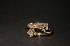 Diamentowe obrączki ślubne Zdjęcia Stock
