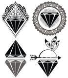 Diamentowe rocznika modnisia etykietki diamenty Zdjęcia Royalty Free