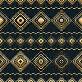 Diamentowego kształta horyzontalnej linii plemienny złocisty bezszwowy wzór royalty ilustracja