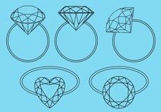 Diamentowi pierścionki, wektoru set Zdjęcie Royalty Free
