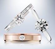 Diamentowi pierścionki Zdjęcia Royalty Free