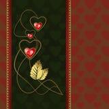 Diamentowi serca i złoto ornamenty Zdjęcia Stock