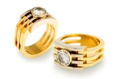 diamentowi złociści pierścionki Zdjęcia Stock