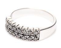 Diamentowy Biały Złocisty pierścionek Zdjęcia Stock