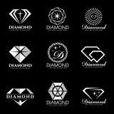 Diamentowy loga wektor ustawia i odizolowywa na czarnym tle Obrazy Royalty Free