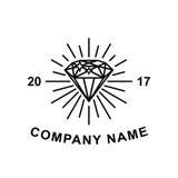 Diamentowy logotypu pojęcie Czarnego diamentu konturu ikona dla loga lub ilustraci Zdjęcia Stock