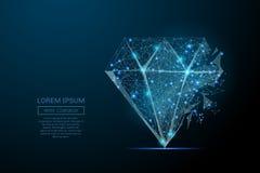 Diamentowy niski poli- błękit ilustracja wektor