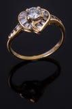 Diamentowy złocisty pierścionek Zdjęcie Stock