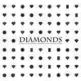 Diamenty, ampuła ustawiająca różne wersje diamentu kamień Zdjęcia Stock