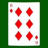 diamenty sześć Karciany kostium ikony wektor, karta do gry symbole wektorowi Fotografia Royalty Free