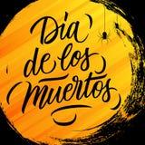 Diameter de los Muertos Dag av det döda mexikanska traditionella feriehälsningkortet med bakgrund och bokstäver för cirkelborstes vektor illustrationer