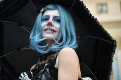Diameter de los Muertos karneval Flicka för sockerskallemakeup Royaltyfri Fotografi