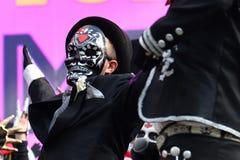 Diameter de los Muertos karneval Man för sockerskallemakeup Dag av Royaltyfri Bild
