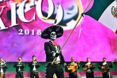 Diameter de los Muertos karneval Man för sockerskallemakeup med flaggan Royaltyfri Bild